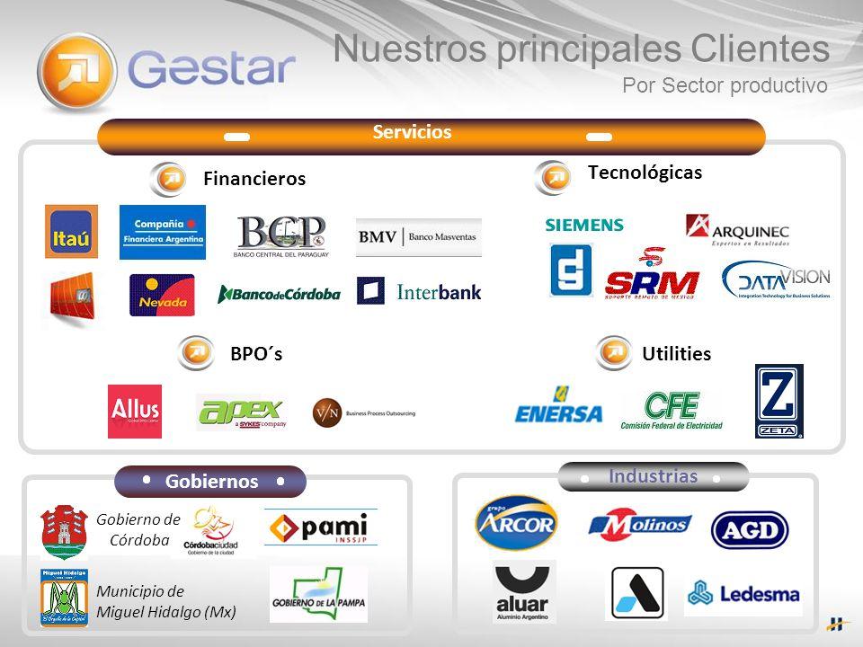 Servicios Financieros BPO´s Tecnológicas Utilities Nuestros principales Clientes Gobiernos Municipio de Miguel Hidalgo (Mx) Gobierno de Córdoba Industrias Por Sector productivo