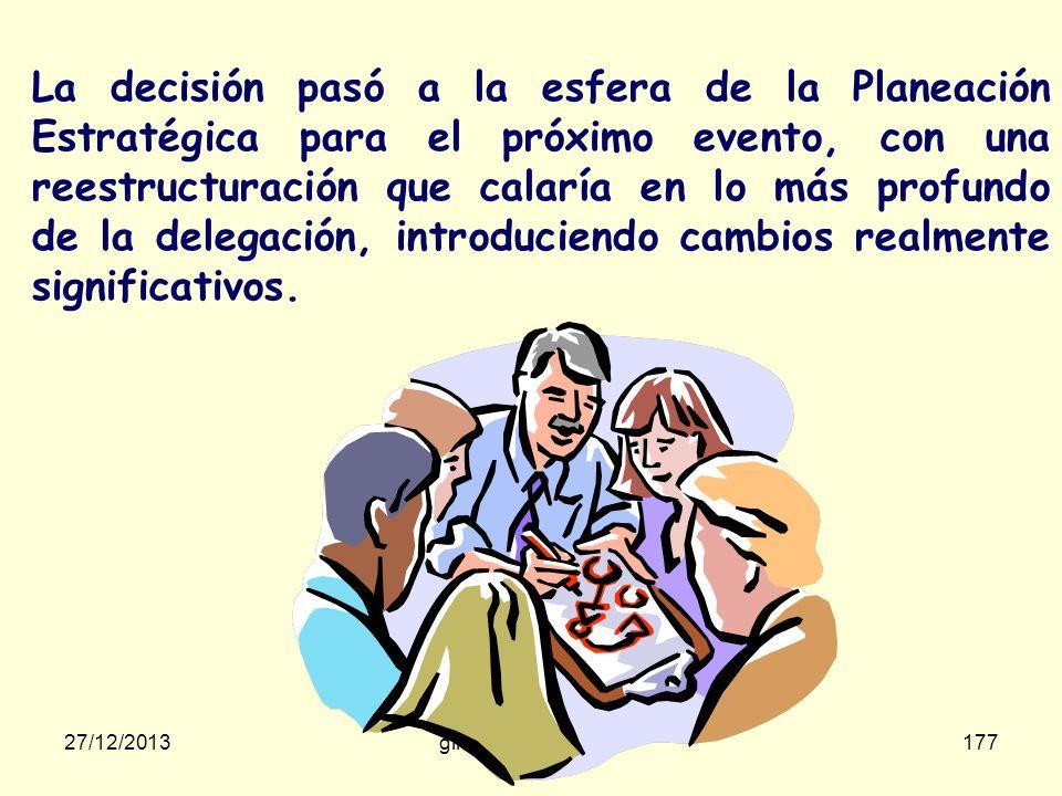 27/12/2013gilalme@gmail.com176 En el Equipo Japonés había: En el Equipo Colombiano había: 1 Jefe de Equipo 10 Remeros 10 Jefes de Equipo 1 Remero