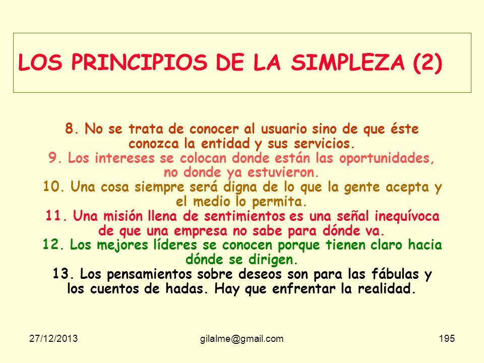 27/12/2013gilalme@gmail.com194 LOS PRINCIPIOS DE LA SIMPLEZA (1) 1. La complejidad no es digna de admiración sino de ser evitada y abolida. 2. Confíe