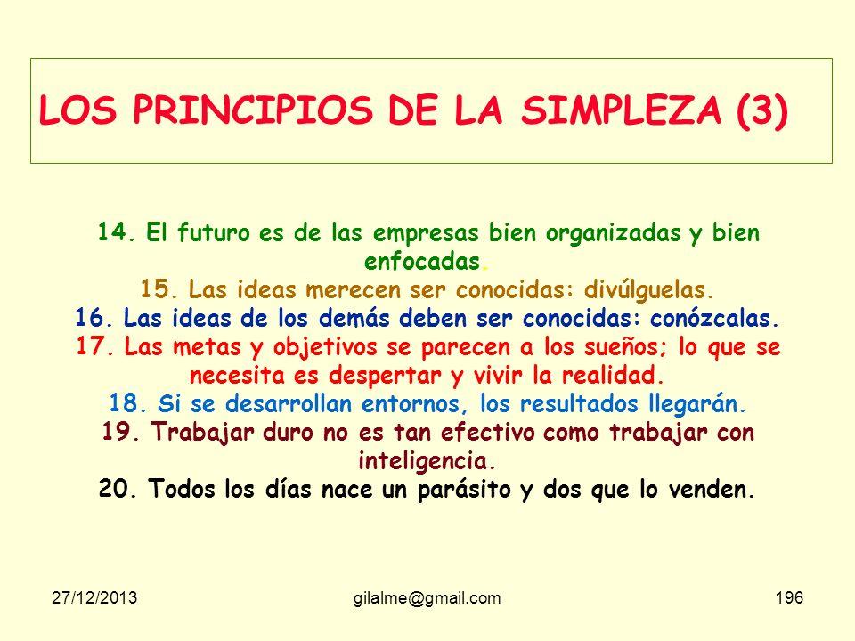 27/12/2013gilalme@gmail.com195 LOS PRINCIPIOS DE LA SIMPLEZA (2) 8. No se trata de conocer al usuario sino de que éste conozca la entidad y sus servic