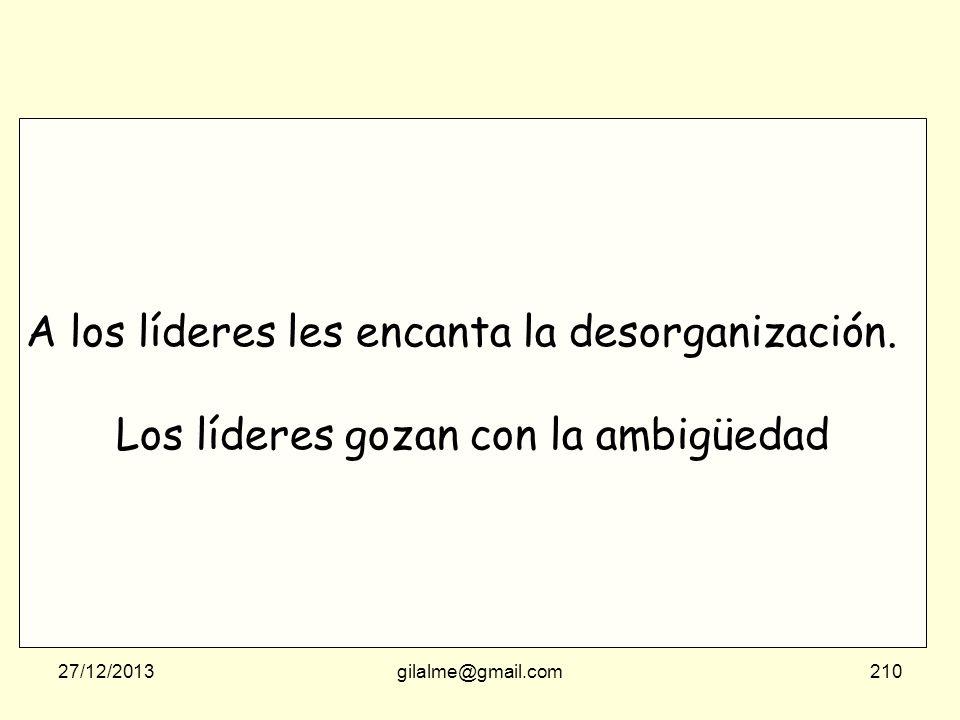 27/12/2013gilalme@gmail.com209 A los líderes les encanta la desorganización. Los líderes gozan con la ambigüedad