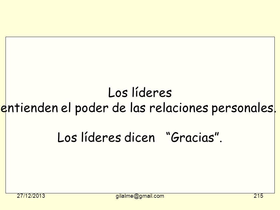 27/12/2013gilalme@gmail.com214 Los buenos lideres saben que se puede dirigir sin poder. (los que no tienen poder Saben que el buen liderazgo es posibl