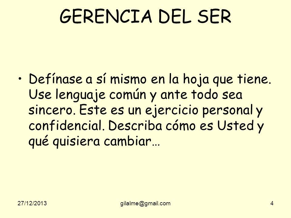 27/12/2013gilalme@gmail.com4 GERENCIA DEL SER Defínase a sí mismo en la hoja que tiene.