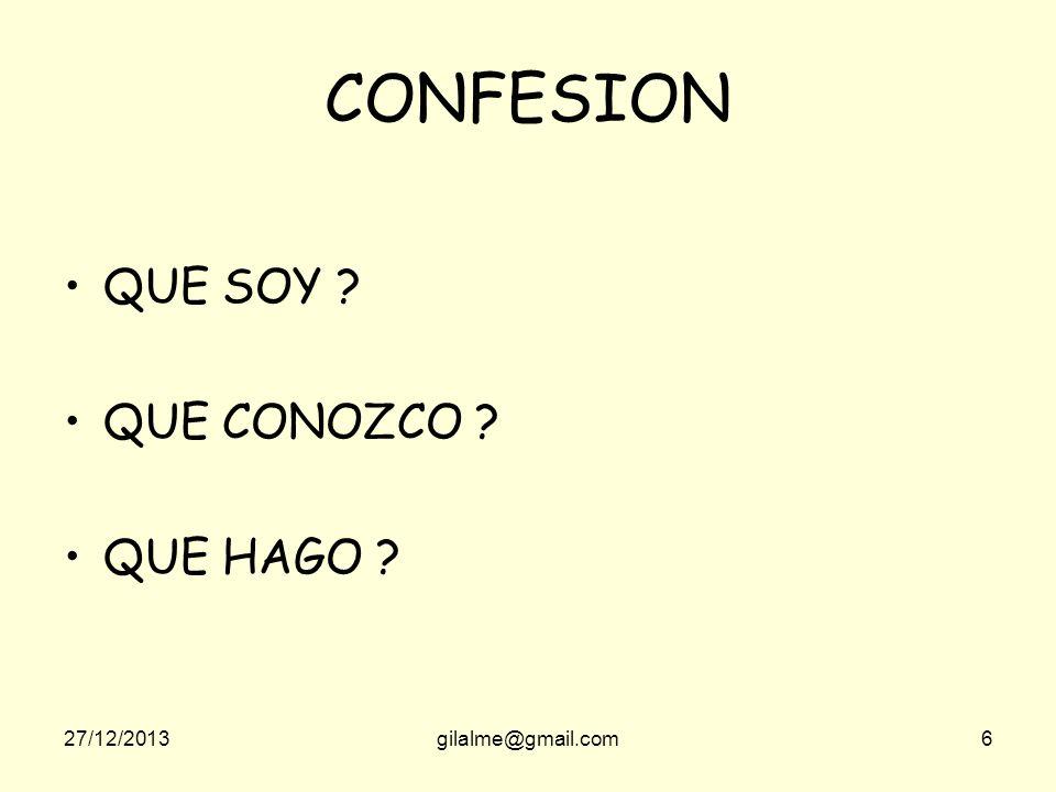 27/12/2013gilalme@gmail.com6 CONFESION QUE SOY ? QUE CONOZCO ? QUE HAGO ?