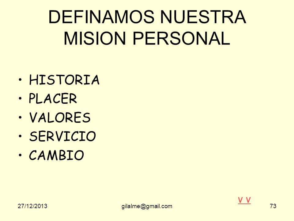 27/12/2013gilalme@gmail.com72 ACTITUD HACIA EL CAMBIO