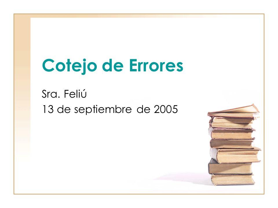 Cotejo de Errores Sra. Feliú 13 de septiembre de 2005
