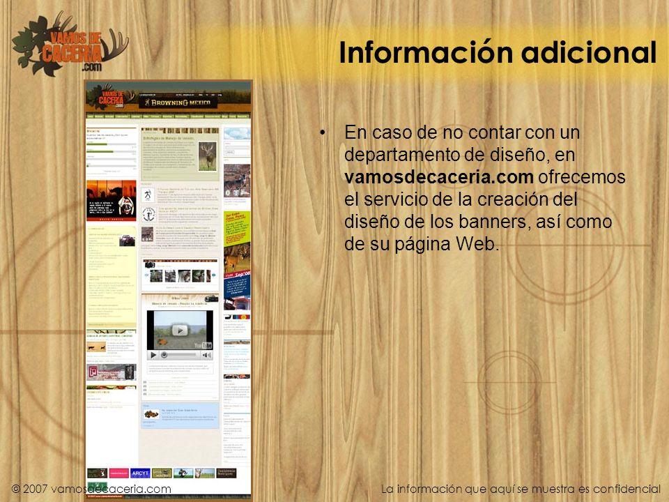 Información adicional En caso de no contar con un departamento de diseño, en vamosdecaceria.com ofrecemos el servicio de la creación del diseño de los