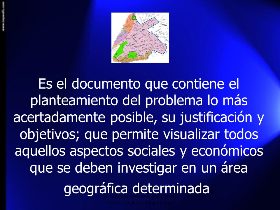Es el documento que contiene el planteamiento del problema lo más acertadamente posible, su justificación y objetivos; que permite visualizar todos aq