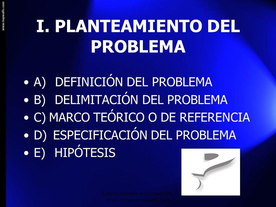 I. PLANTEAMIENTO DEL PROBLEMA A) DEFINICIÓN DEL PROBLEMA B) DELIMITACIÓN DEL PROBLEMA C) MARCO TEÓRICO O DE REFERENCIA D) ESPECIFICACIÓN DEL PROBLEMA