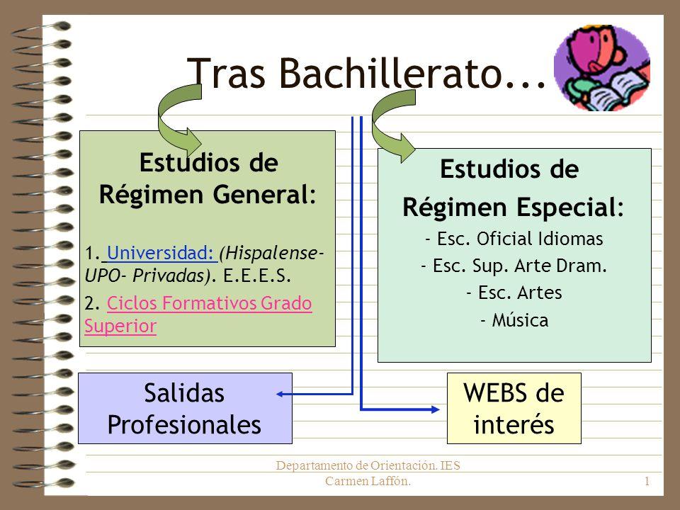 Departamento de Orientación. IES Carmen Laffón.1 Tras Bachillerato... Estudios de Régimen Especial: - Esc. Oficial Idiomas - Esc. Sup. Arte Dram. - Es