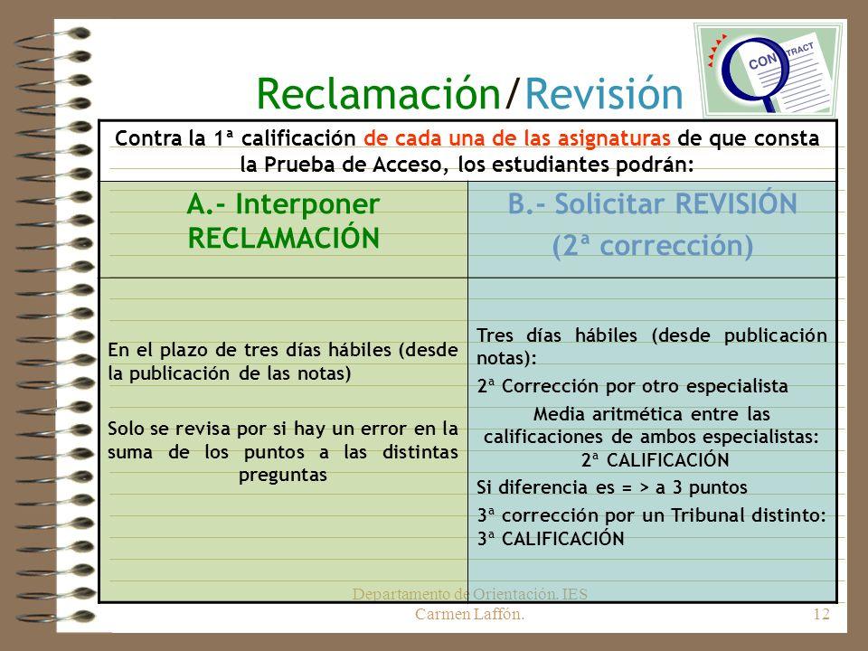 Departamento de Orientación. IES Carmen Laffón.12 Reclamación/Revisión Contra la 1ª calificación de cada una de las asignaturas de que consta la Prueb