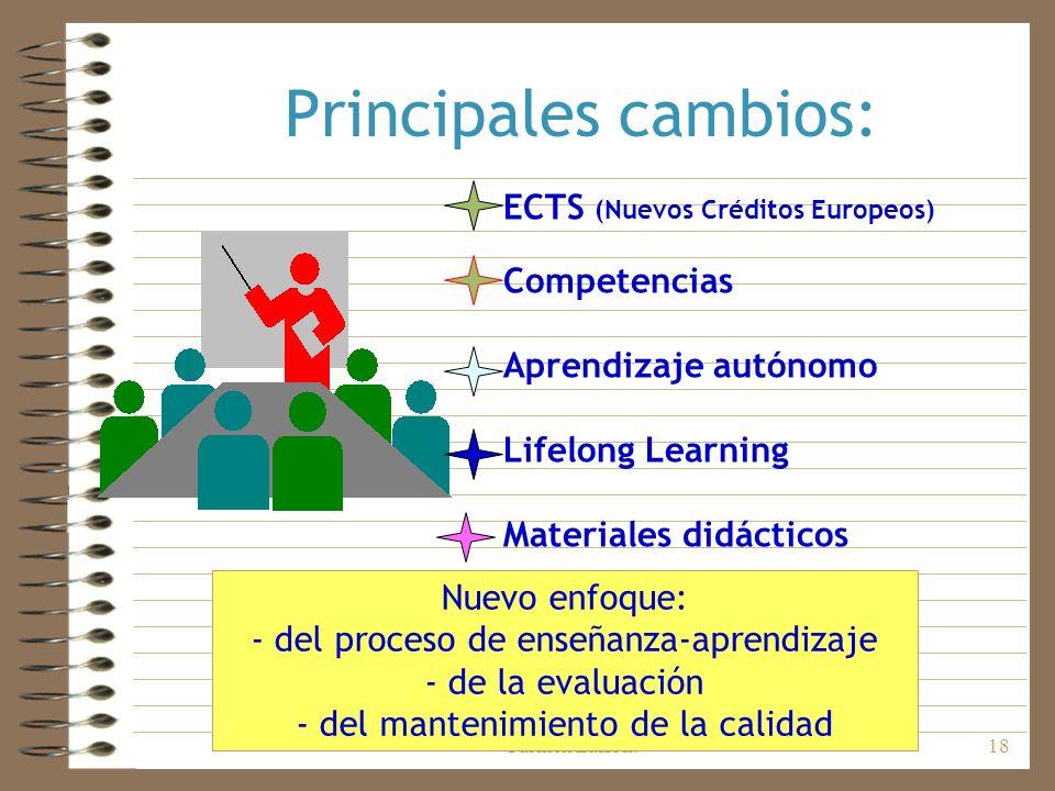 Departamento de Orientación. IES Carmen Laffón.18 Principales cambios: ECTS (Nuevos Créditos Europeos) Competencias Aprendizaje autónomo Lifelong Lear