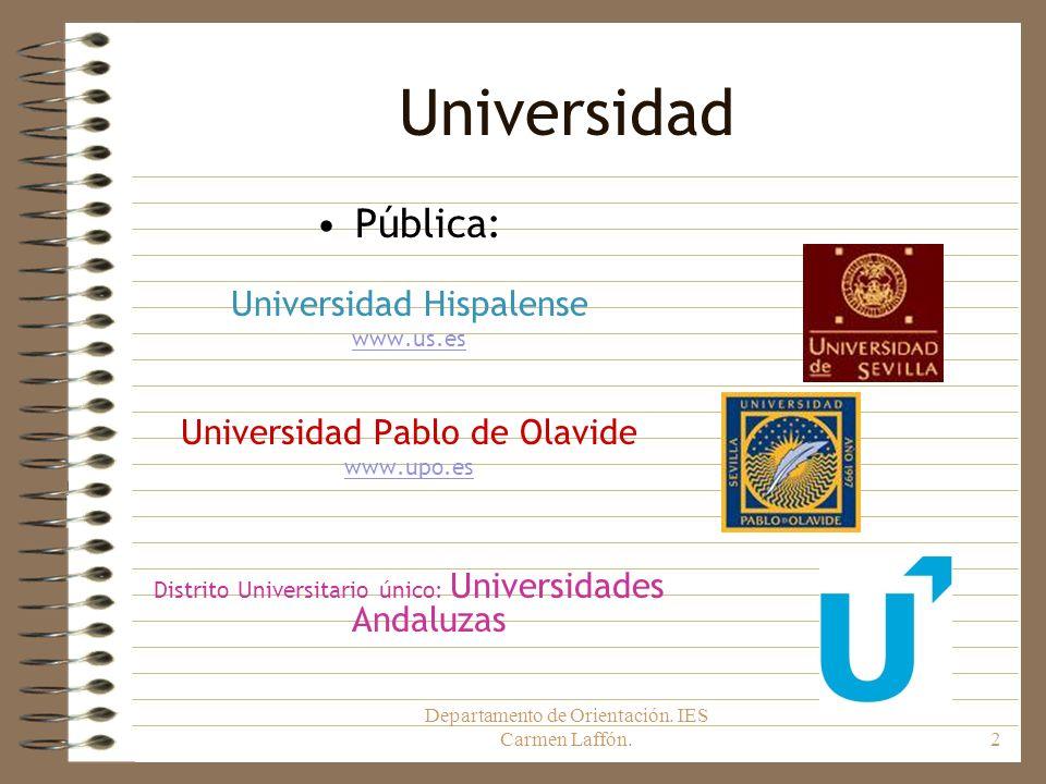 Departamento de Orientación. IES Carmen Laffón.2 Universidad Pública: Universidad Hispalense www.us.es Universidad Pablo de Olavide www.upo.es Distrit