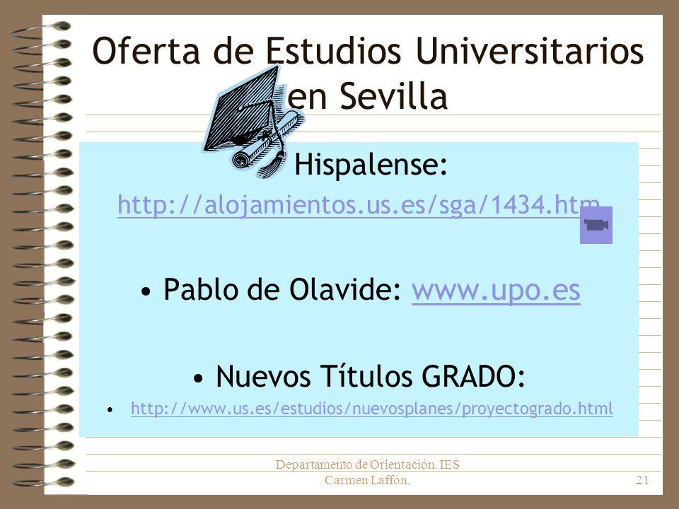 Departamento de Orientación. IES Carmen Laffón.21 Oferta de Estudios Universitarios en Sevilla Hispalense: http://alojamientos.us.es/sga/1434.htm Pabl