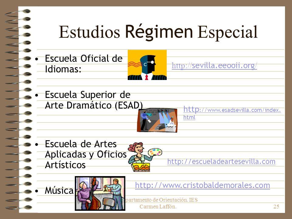 Departamento de Orientación. IES Carmen Laffón.25 Estudios Régimen Especial Escuela Oficial de Idiomas: Escuela Superior de Arte Dramático (ESAD) Escu