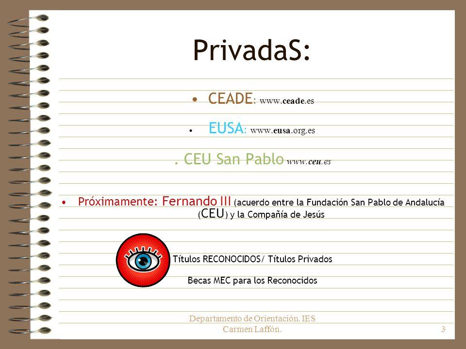 Departamento de Orientación. IES Carmen Laffón.3 PrivadaS: CEADE : www.ceade.es EUSA : www.eusa.org.es. CEU San Pablo www.ceu.es Próximamente: Fernand