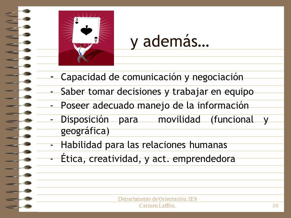 Departamento de Orientación. IES Carmen Laffón.30 y además… - Capacidad de comunicación y negociación -Saber tomar decisiones y trabajar en equipo -Po