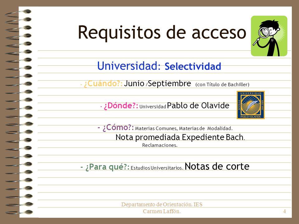 Departamento de Orientación. IES Carmen Laffón.4 Requisitos de acceso Universidad : Selectividad - ¿Cuándo ?: Junio / Septiembre (con Título de Bachil