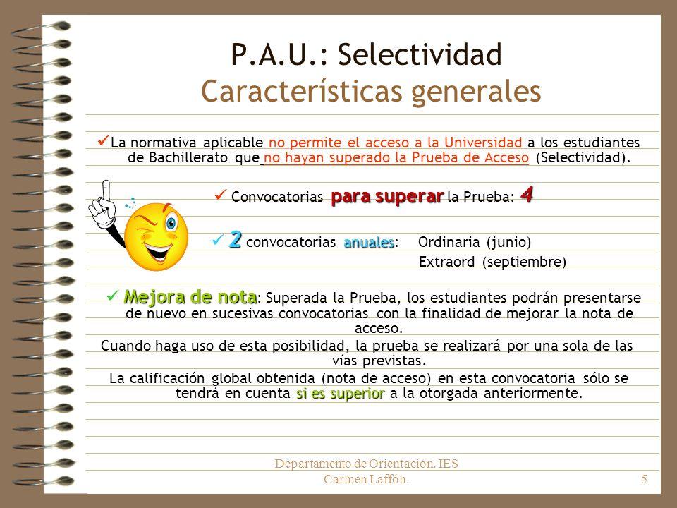 Departamento de Orientación. IES Carmen Laffón.5 P.A.U.: Selectividad Características generales La normativa aplicable no permite el acceso a la Unive