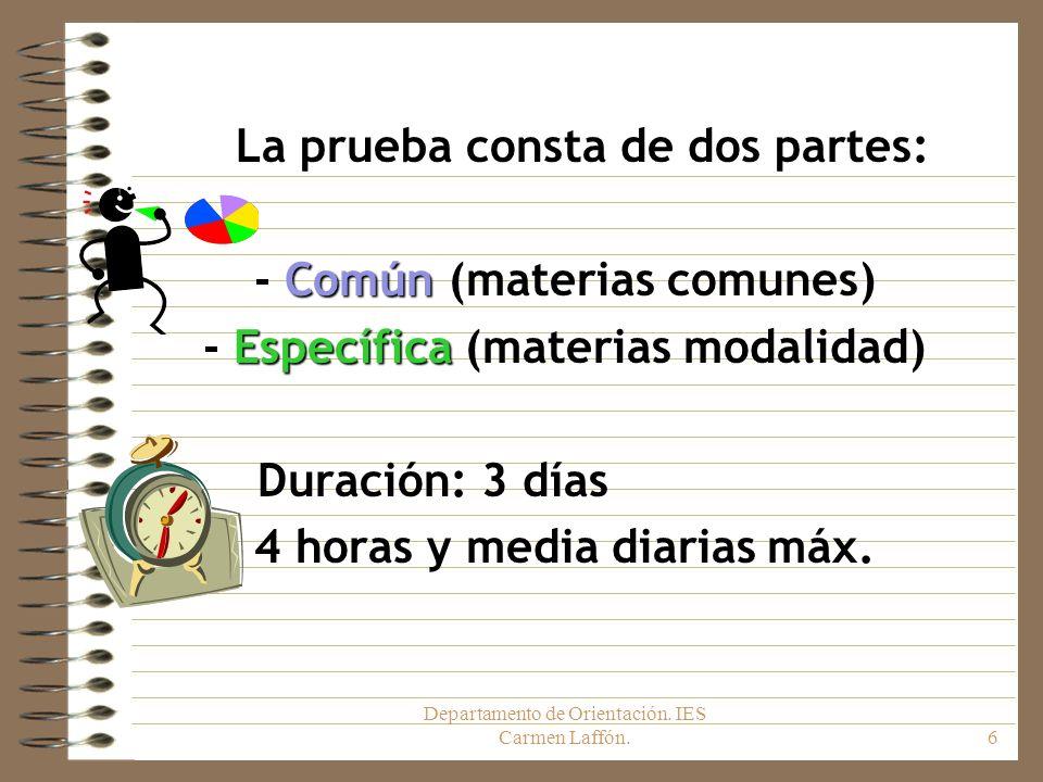 Departamento de Orientación. IES Carmen Laffón.6 La prueba consta de dos partes: Común - Común (materias comunes) Específica - Específica (materias mo