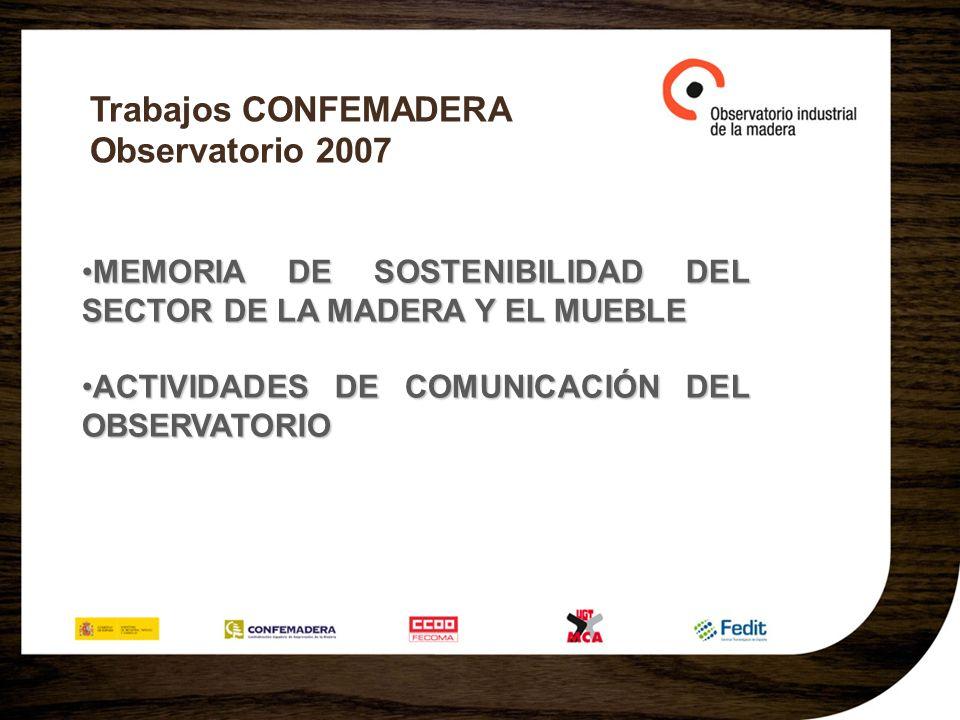 Trabajos CONFEMADERA Observatorio 2007 MEMORIA DE SOSTENIBILIDAD DEL SECTOR DE LA MADERA Y EL MUEBLEMEMORIA DE SOSTENIBILIDAD DEL SECTOR DE LA MADERA Y EL MUEBLE ACTIVIDADES DE COMUNICACIÓN DEL OBSERVATORIOACTIVIDADES DE COMUNICACIÓN DEL OBSERVATORIO