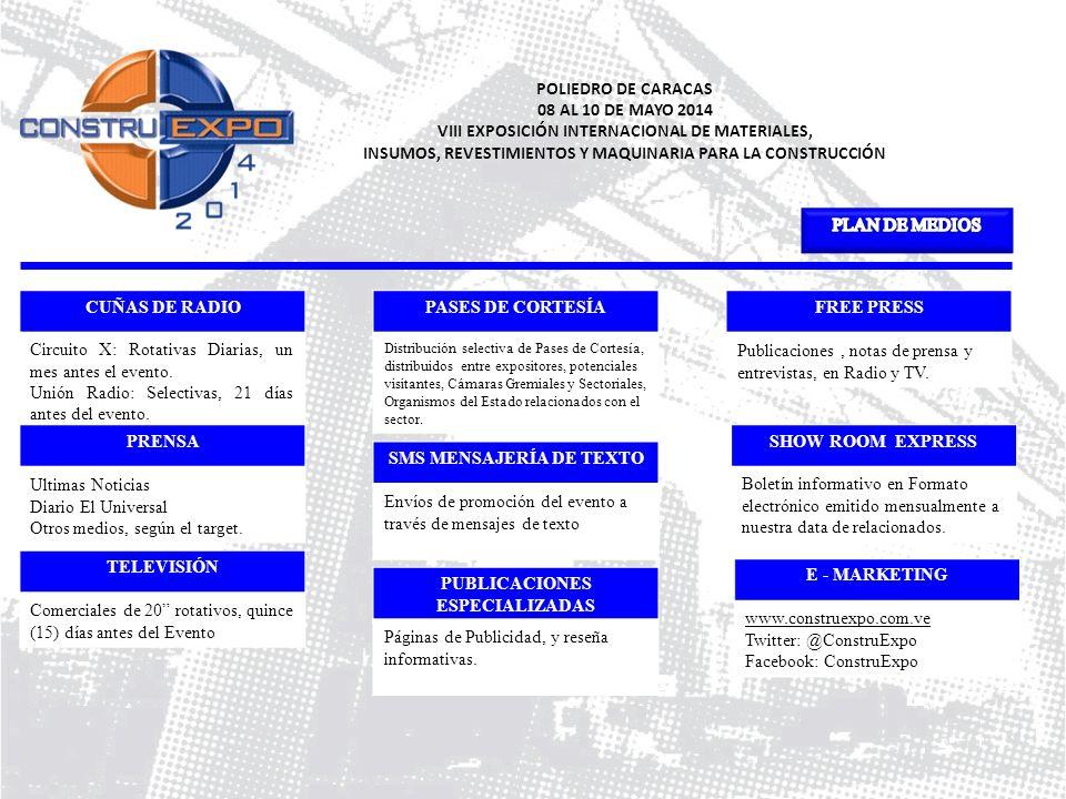 POLIEDRO DE CARACAS 08 AL 10 DE MAYO 2014 VIII EXPOSICIÓN INTERNACIONAL DE MATERIALES, INSUMOS, REVESTIMIENTOS Y MAQUINARIA PARA LA CONSTRUCCIÓN CUÑAS