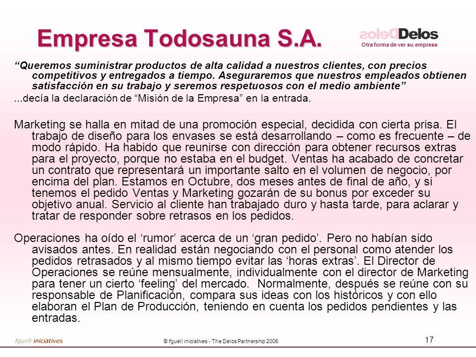 Otra forma de ver su empresa © fguell iniciatives - The Delos Partnership 2005 17 Empresa Todosauna S.A. Queremos suministrar productos de alta calida