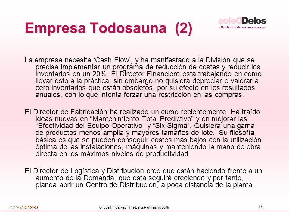 Otra forma de ver su empresa © fguell iniciatives - The Delos Partnership 2005 19 Empresa Todosauna (3) El Departamento de Desarrollo se encuentra en mitad del proyecto para un nuevo producto revolucionario, que de lanzarse, incrementaría dramáticamente la participación de mercado.