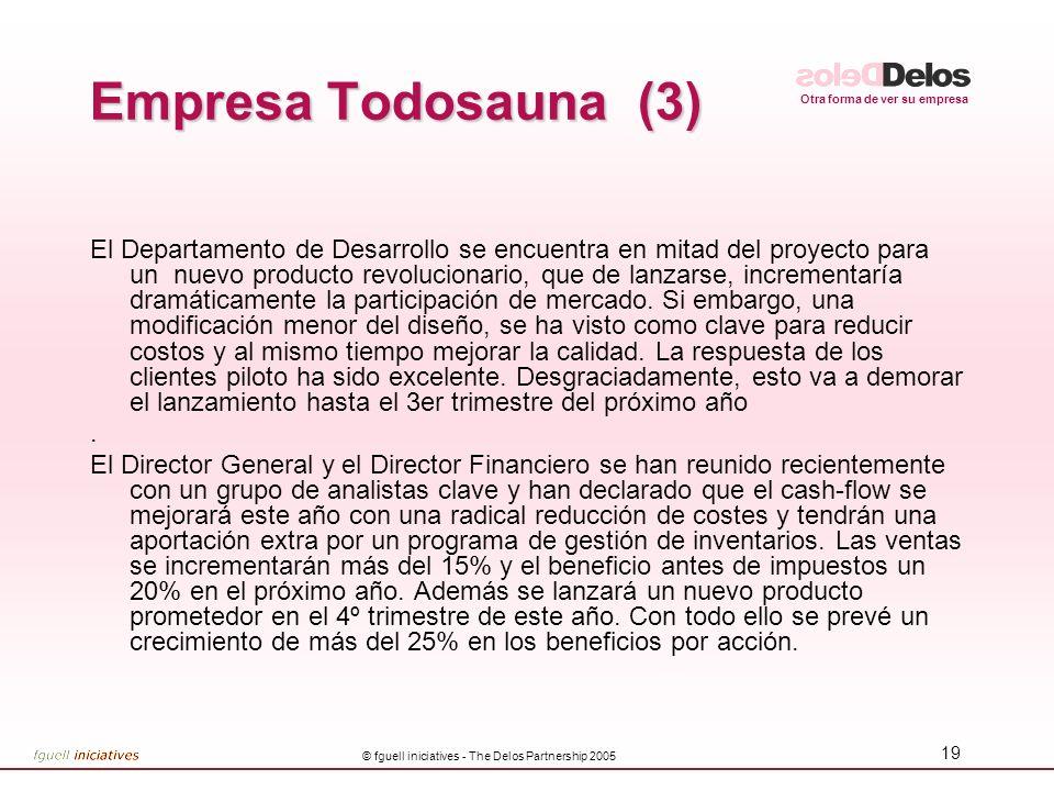 Otra forma de ver su empresa © fguell iniciatives - The Delos Partnership 2005 19 Empresa Todosauna (3) El Departamento de Desarrollo se encuentra en