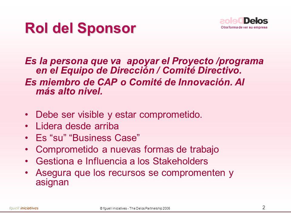 Otra forma de ver su empresa © fguell iniciatives - The Delos Partnership 2005 2 Rol del Sponsor Es la persona que va apoyar el Proyecto /programa en