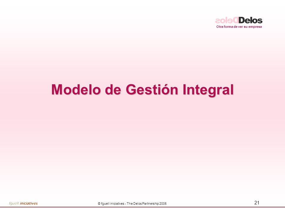 Otra forma de ver su empresa © fguell iniciatives - The Delos Partnership 2005 22 Innovación InnovaciónVisiónEstrategia Prioridades Prioridades Demanda Soporte Suministro Modelo Delos de Gestión Integral