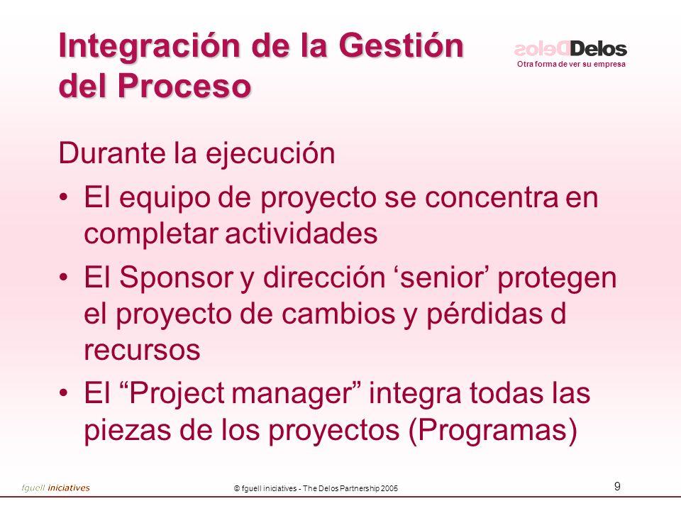 Otra forma de ver su empresa © fguell iniciatives - The Delos Partnership 2005 9 Integración de la Gestión del Proceso Durante la ejecución El equipo