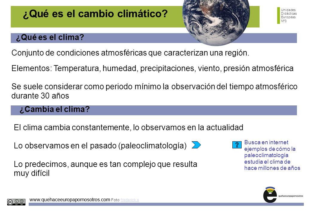 Unidades Didácticas Europeas Nº3 www.quehaceeuropapornosotros.com ¿Qué es el cambio climático? Conjunto de condiciones atmosféricas que caracterizan u