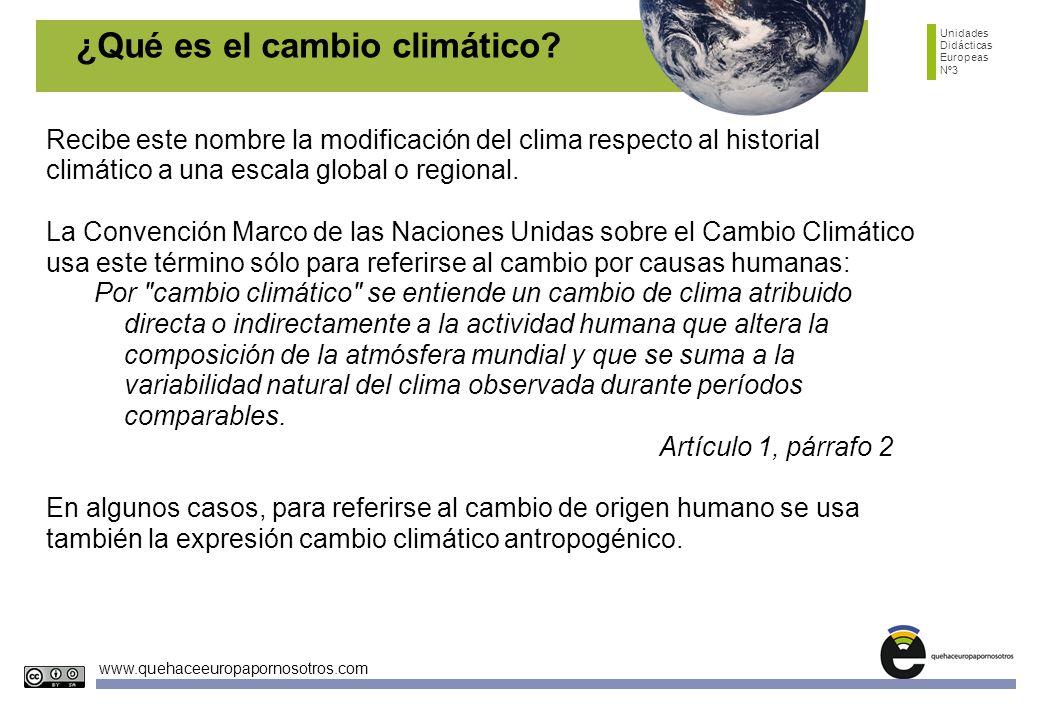 Unidades Didácticas Europeas Nº3 www.quehaceeuropapornosotros.com ¿Qué es el cambio climático? Recibe este nombre la modificación del clima respecto a