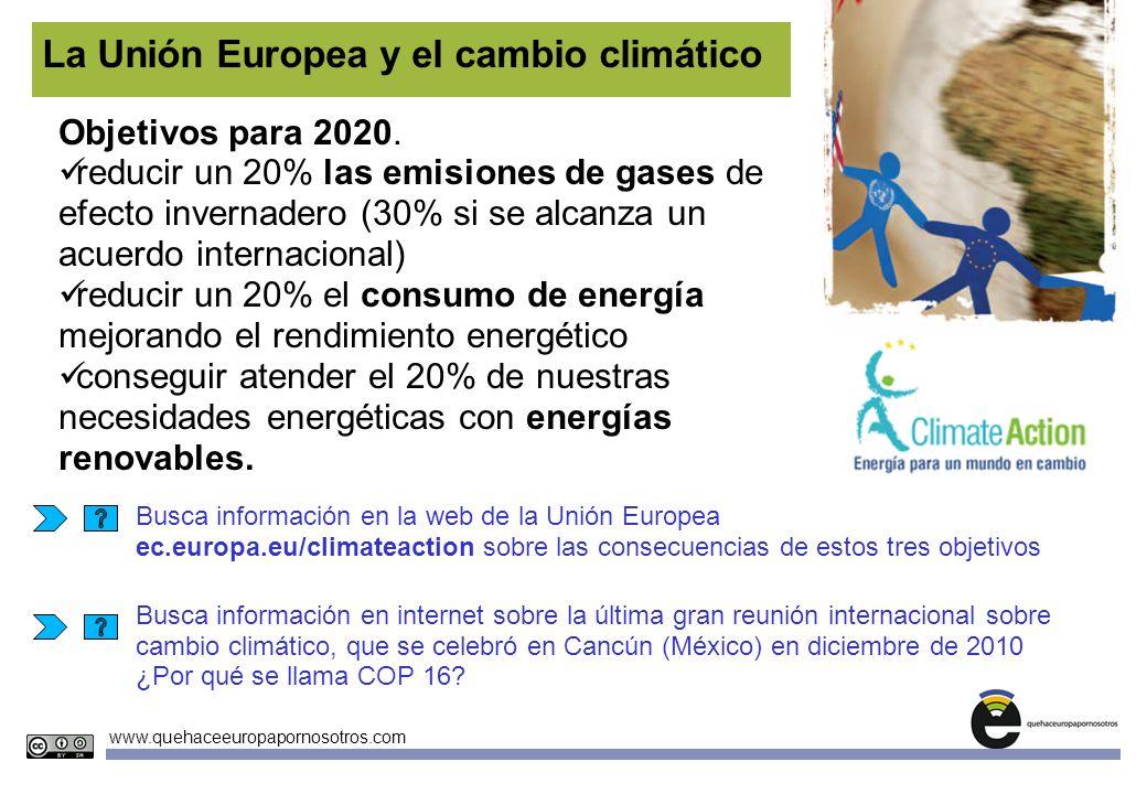 Unidades Didácticas Europeas Nº3 www.quehaceeuropapornosotros.com La Unión Europea y el cambio climático Objetivos para 2020. reducir un 20% las emisi