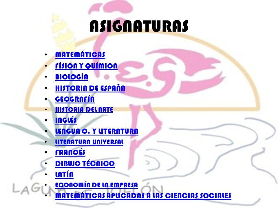 ASIGNATURAS MATEMÁTICAS FÍSICA Y QUÍMICA BIOLOGÍA HISTORIA DE ESPAÑA GEOGRAFÍA HISTORIA DEL ARTE INGLÉS LENGUA C. Y LITERATURA LITERATURA UNIVERSAL FR