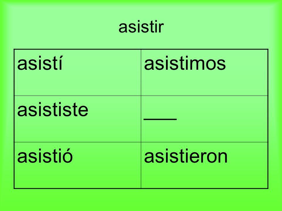 asistir asistíasistimos asististe___ asistióasistieron