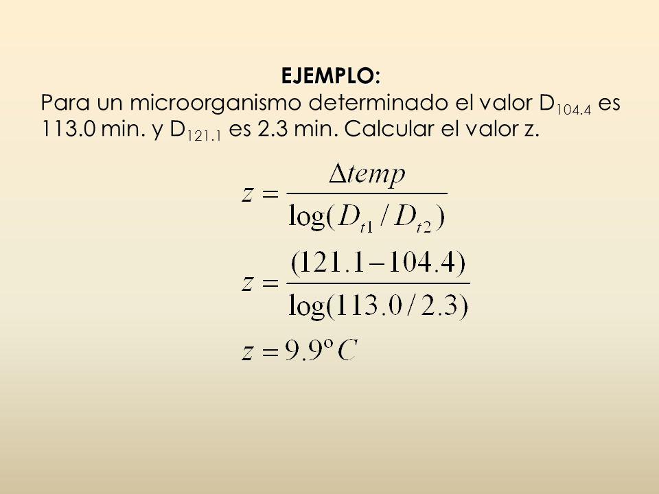 EJEMPLO: EJEMPLO: Para un microorganismo determinado el valor D 104.4 es 113.0 min. y D 121.1 es 2.3 min. Calcular el valor z.