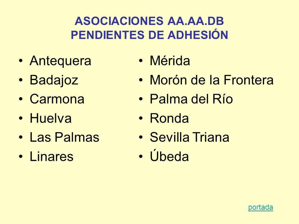 ASOCIACIONES AA.AA.DB PENDIENTES DE ADHESIÓN Antequera Badajoz Carmona Huelva Las Palmas Linares Mérida Morón de la Frontera Palma del Río Ronda Sevil