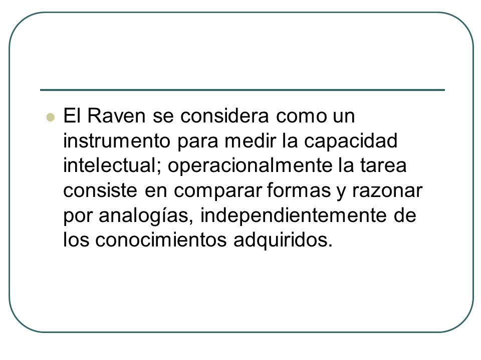 El Raven se considera como un instrumento para medir la capacidad intelectual; operacionalmente la tarea consiste en comparar formas y razonar por ana