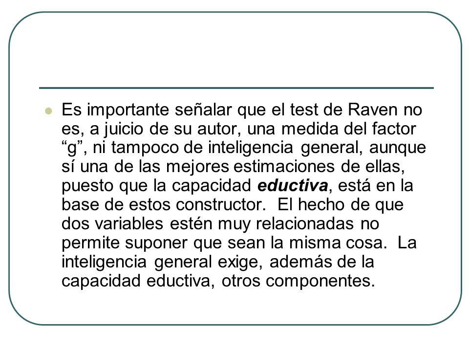 Es importante señalar que el test de Raven no es, a juicio de su autor, una medida del factor g, ni tampoco de inteligencia general, aunque sí una de
