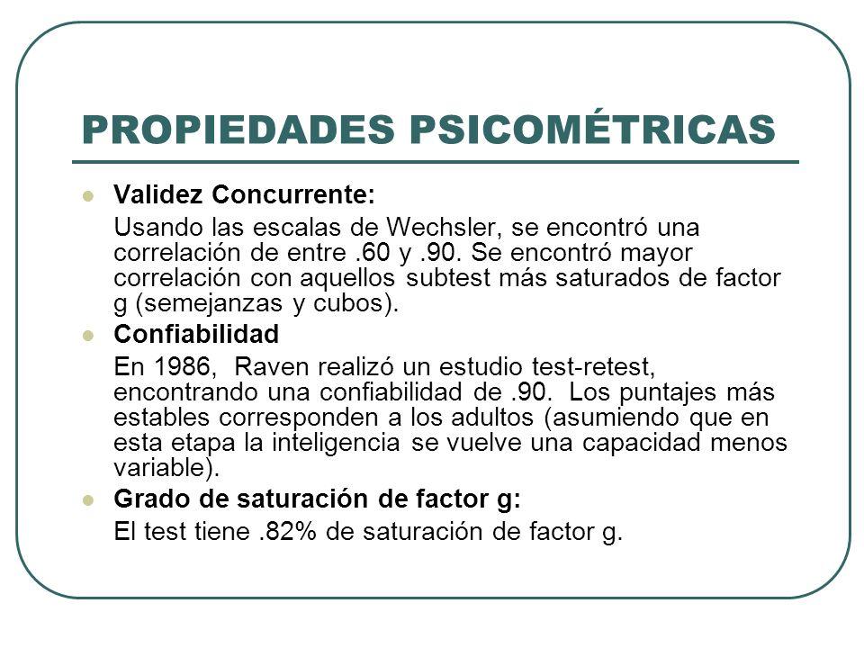 PROPIEDADES PSICOMÉTRICAS Validez Concurrente: Usando las escalas de Wechsler, se encontró una correlación de entre.60 y.90. Se encontró mayor correla