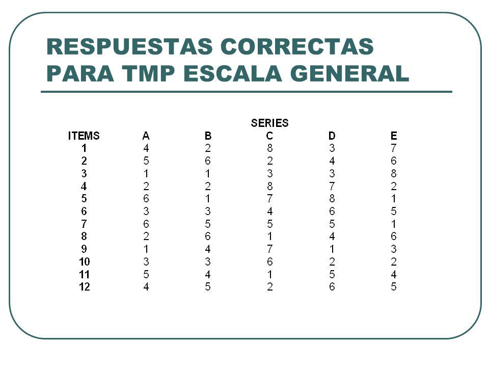 RESPUESTAS CORRECTAS PARA TMP ESCALA GENERAL