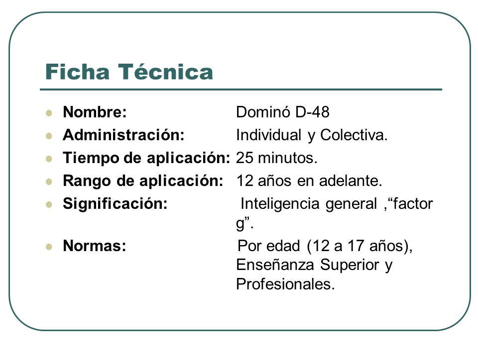 Ficha Técnica Nombre: Dominó D-48 Administración: Individual y Colectiva. Tiempo de aplicación: 25 minutos. Rango de aplicación: 12 años en adelante.