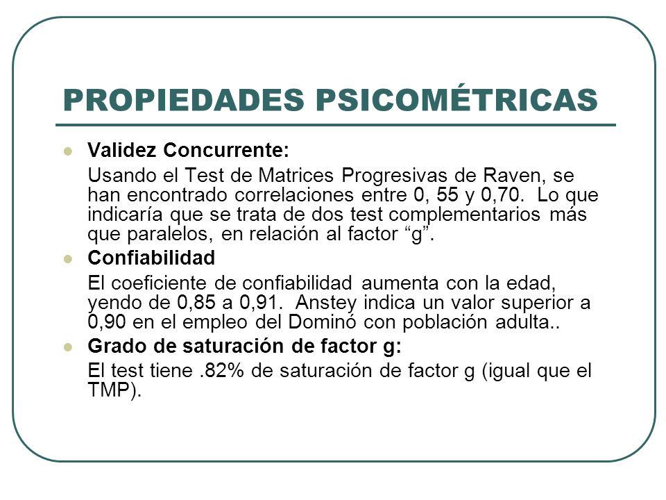 PROPIEDADES PSICOMÉTRICAS Validez Concurrente: Usando el Test de Matrices Progresivas de Raven, se han encontrado correlaciones entre 0, 55 y 0,70. Lo