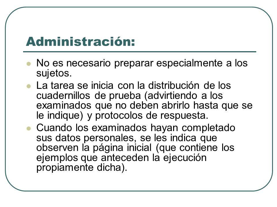 Administración: No es necesario preparar especialmente a los sujetos. La tarea se inicia con la distribución de los cuadernillos de prueba (advirtiend