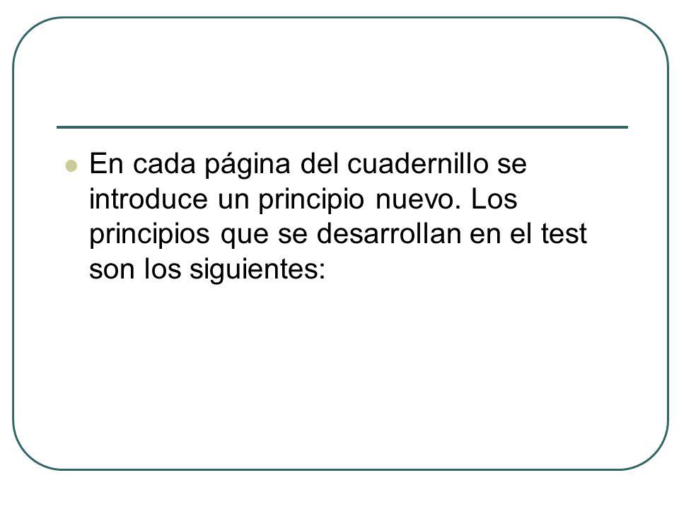 En cada página del cuadernillo se introduce un principio nuevo. Los principios que se desarrollan en el test son los siguientes: