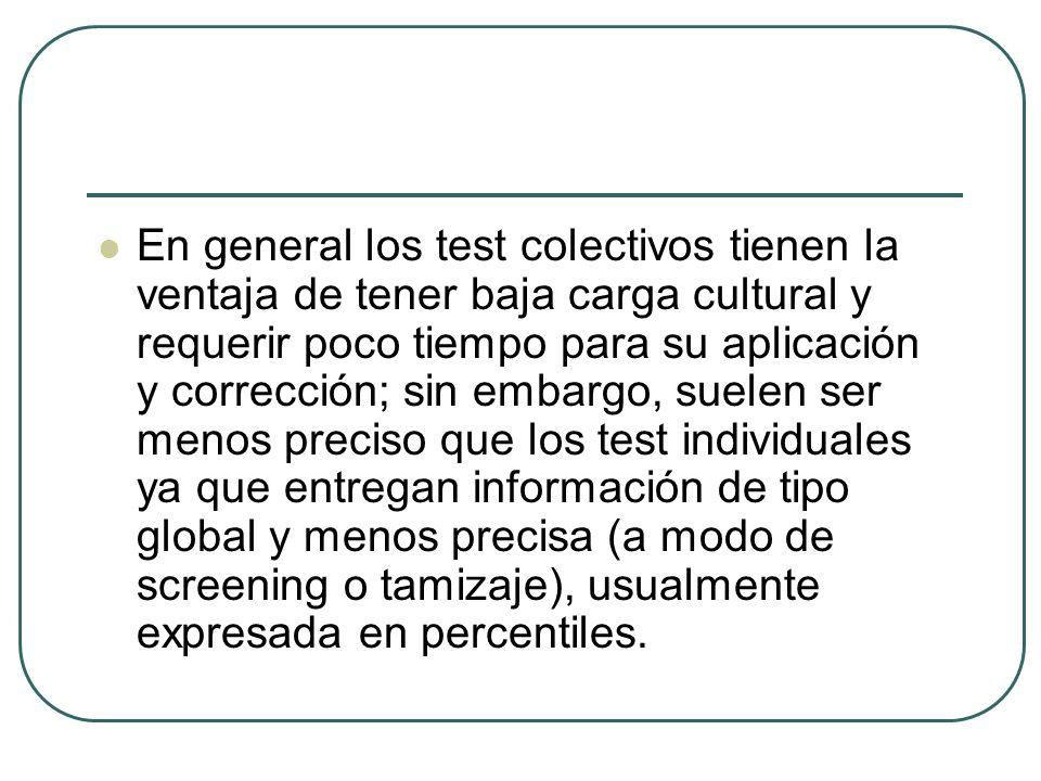 En general los test colectivos tienen la ventaja de tener baja carga cultural y requerir poco tiempo para su aplicación y corrección; sin embargo, sue