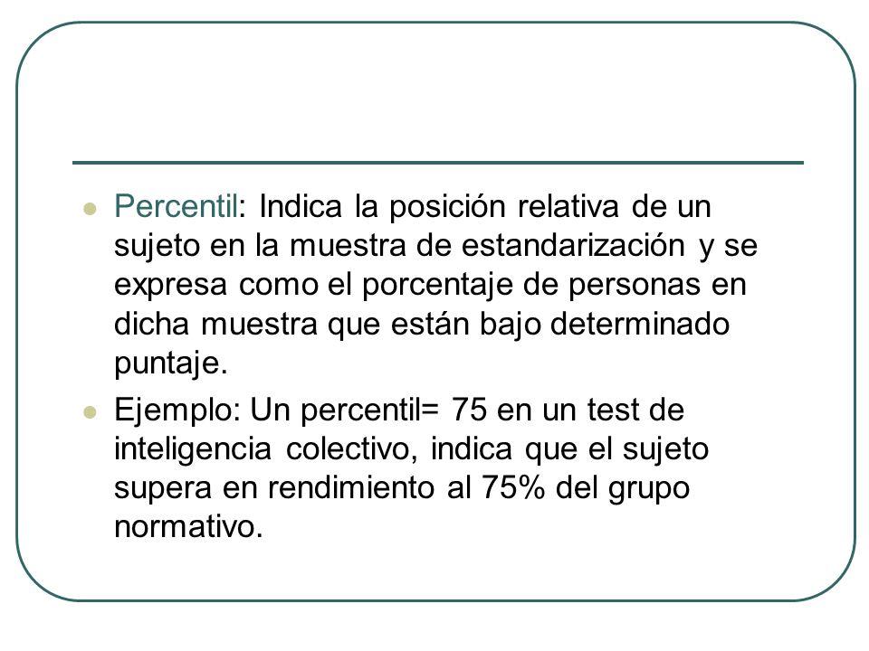 Percentil: Indica la posición relativa de un sujeto en la muestra de estandarización y se expresa como el porcentaje de personas en dicha muestra que