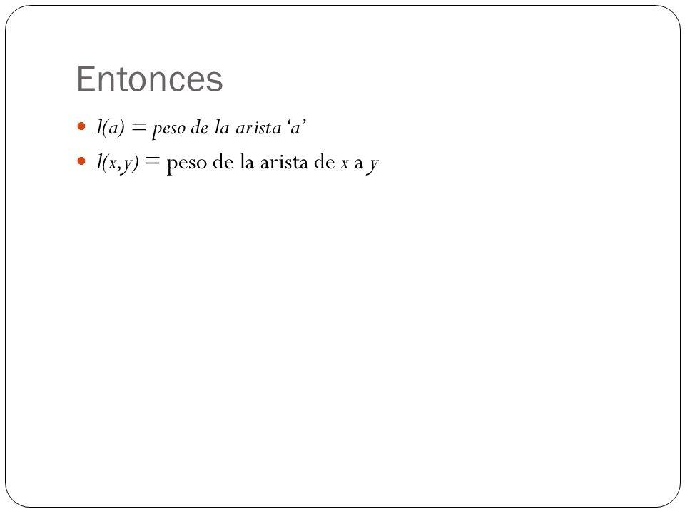 Entonces l(a) = peso de la arista a l(x,y) = peso de la arista de x a y